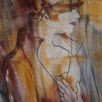 Frau mit Hut braun