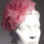 Model Rose, handmade rose leafes on a silk matched cap with a silk Aliceband in a pink Rose