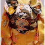 十三参りのお孫さんのための振袖帯結び。森田空美流着付け教室で最初にお稽古していただく帯結びです。