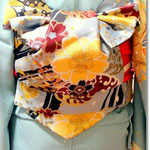 森田空美流着付け教室in関西の定番の帯結び「二十歳の日」お太鼓系の変り結びで、どんな体系の方にも似合います。