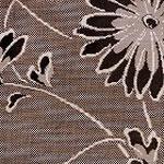 尾形乾山写しの菊柄大島紬。地の部分は泥染めの蚊絣でびっしりと埋め、菊の花や葉は黒やグレー、白茶で陰影のある織り。