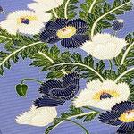 ブルー地絽塩瀬に芥子の花を描いた、東京友禅久呂田明功作染め帯。