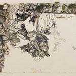 BLATTWERK II // Monotypie // Druckplatte 25 x 44cm // mit Passepartout 50 x 70cm // erhältlich in der Galerie art+form Dresden
