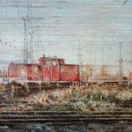 Vorbeigleiten // Rote Rangierlok // 70 x 100cm // verkauft