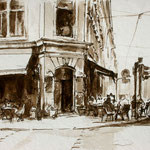 Dresdner Neustadt // Café Continental // Tuschezeichnung // ca. 30 x 40cm // verkauft