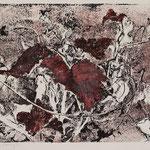 GELBES LAUB III // nun rot // Monotypie Studie // Druckplatte 25 x 44cm // mit Passepartout 50 x 70cm // verkauft