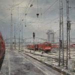 Gleislandschaft mit roten Zügen // München Hbf // 100 x 120cm // verkauft