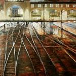 Gleise im nächtlichen Widerschein // Hamburg Hbf // 100 x 140cm // verkauft