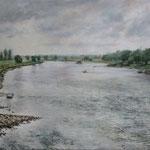 Flussaufwärts // Blaues Wunder Dresden // 80 x 100cm // verkauft