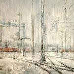 Gleislandschaft im Schnee // Stuttgart Hbf // 100 x 180cm // verkauft // auf Anfrage ev. Weiterverkauf möglich