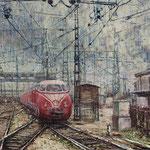 Einfahrt im Bahnhof Zürich bei diesigem Wetter 1957 // 60 x 80cm // Auftragswerk 2017