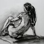 Mädchen, Rückenakt // 70 x 50cm // Kohlezeichnung // verkauft