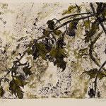 TOMATENZWEIG // Monotypie Studie // Druckplatte 25 x 44cm // mit Passepartout 50 x 70cm