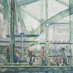 Menschen auf der Hackerbrücke // München // 70 x 70cm // verkauft
