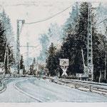 Bahnübergang // Monotypie // Druckplatte 30 x 40cm // mit Passepartout 50 x 70cm // verkauft