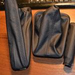 BMW, кожух кпп и ручника, ручка ручника автокожа Wollsdorf, черная нить