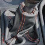 OPEL, чехол кпп, черная автокожа, оранжевая нить