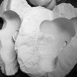 Fertig: die fünfteilige Gipsform für ORIETTEs Kopf