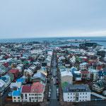 Blick von der Hallgrímskirkja in Reykjavik