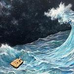 「今夜は大漁!」F50 キャンバスに油彩、原太一作