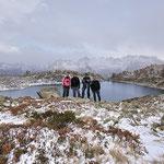 Ale, Mauro, Chico e io al Lago di Mognòla 2003 m