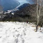 Discesa ripida sotto il Monte Boglia
