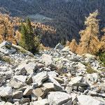 Dal sentiero per il Laghet de Lughezzasca, in fondo l'Alp de Quarnei