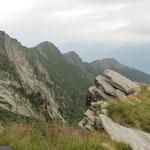 La cresta che parte dalla Cima d'Aspra e arriva al Gaggio