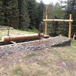 La stazione all'Alp de Crasteira che serviva al trasporto del legname a valle.
