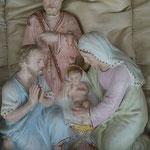 Krippe, Hinterglasverzierungen-Malerien, sehr alt und gut erhalten.