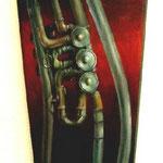 Norbert Gladis - Trompet -  Öl auf Geigenkasten