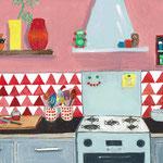 Keuken, illustratie voor anzichtkaart