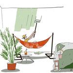 Illustratie over Klussen in de vakantie. Blog voor ruimte-makers.nl
