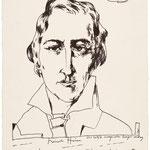 Horst Janssen: Heinrich Heine, o. J., Kugelschreiber