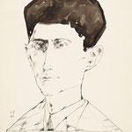 Horst Janssen: Franz Kafka, 10.4.1967, Aquarell/Bleistift