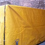Чехол на дизель-генератор из непромокаемой ткани ПВХ (с расчехлениями на ремнях и удобными технологическими отверстиями на шторках)