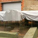 Непромокаемые чехлы из ткани ПВХ на металлоконструкции