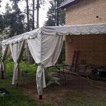 Тент со шторками для дачного навеса (лёгкий, непромокаемый материал)