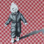 Auf dem Weg (2020, Acry auf altem Stoff, 30x30 cm)