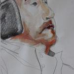 Weitblick (2012, Bleistift/Acryl/Papier, 27x49 cm)