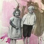 Pink Mess 3 (2018, Graphit, Acryk und Tusche auf Papier, 28x30 cm)