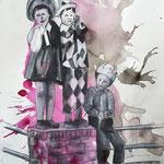 Pink Mess 1 (2018, Graphit, Acryl und Tusche auf Papier, 28x30 cm)