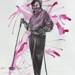 Pink Mess 2 (2018, Graphit, Acryl und Tusche auf Papier 28x30 cm)