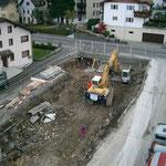 Baugrubensicherung Buochserstrasse 48 Beckenried - Erstellen des ersten Betonkranzes