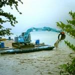 Unwetter August 2005 - Auspacken vom Bachdelta, Lielibach Beckenried
