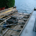 Bootshaus Dorfstrasse 22 - Betonieren von Betonriegel auf Spundung