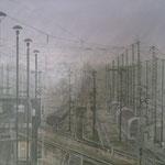 Rangierbahnhof bei Morgennebel 50x70 / 2012 ---CHF 1'350---