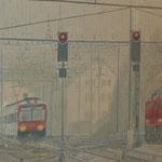 Zugeinfahrt bei Regen 80x100 / 2017 ---CHF 2'200---