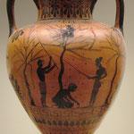 Esclaves ramassant des olives. Vase grec réalisé vers 520 avant J.C.