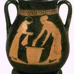 Femmes esclaves lavant du linge. Vase réalisé au IVe siècle avant J.C.